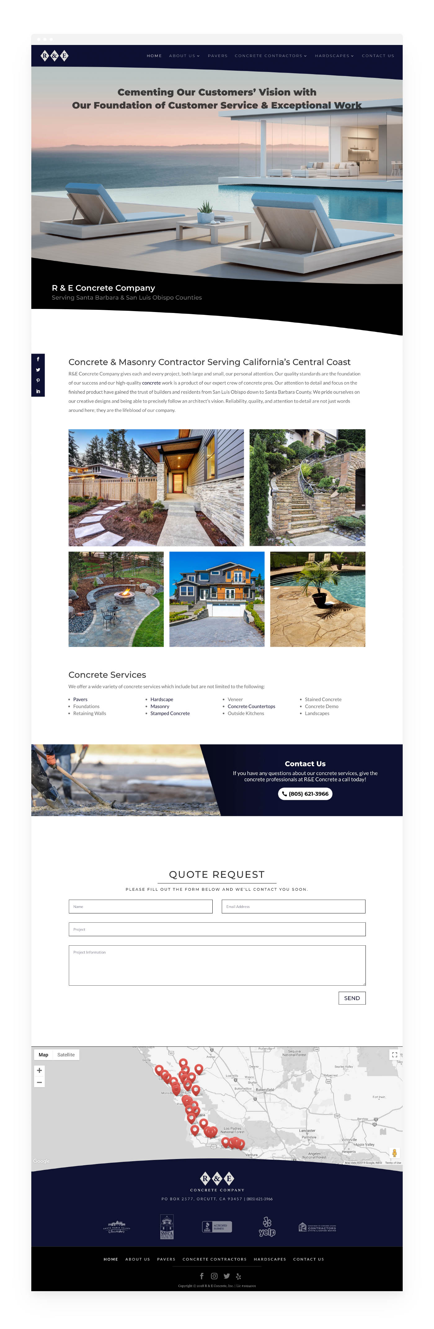 Website design preview for R And E Concrete Comapny
